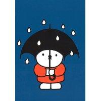 ポストカード ミッフィー ディック・ブルーナ「傘を持ったくま」ブルー 雨